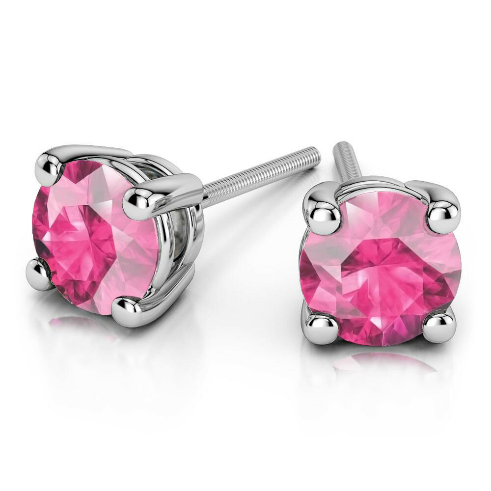 Genuine Natural 4.00ct Pink Sapphire Gemstone Stud 14K White gold Earrings