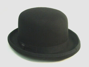 Black-Bowler-Derby-Felt-Victorian-Old-West-style-sizes-M-to-XL-Dorfman-Pacific