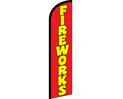 FIREWORKS Red Yellow Windless Full Curve Top Advertising Banner Feather Swooper