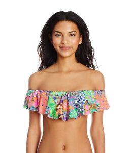 e032e8f8e7f5b Trina Turk Women's Off Shoulder Ruffle Bandeau Bikini Swimsuit Top ...