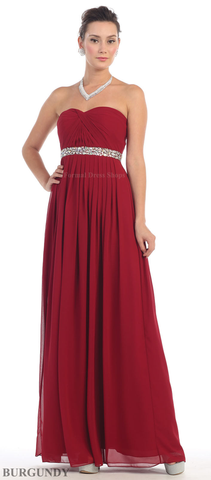 SEMI FORMAL EVENING GOWN BRIDESMAIDS DRESSES LACE UP BACK STRAPLESS ...
