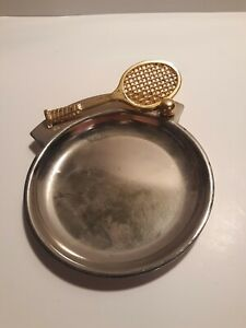 Vintage 2 Piece Brass Ashtray With Tennis Racket And Ball Attached