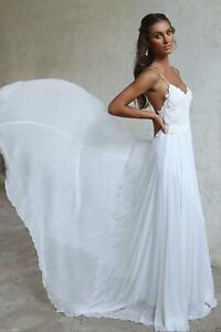 NEW-Beach-White-Bridal-Gowns-Backless-Chiffon-Wedding-Dresses-Wedding-Dress