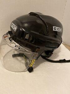 CCM-Ice-Street-Hockey-Helmet-with-XCEL-Type-4-Clear-Visor-Size-SM-15-BLK