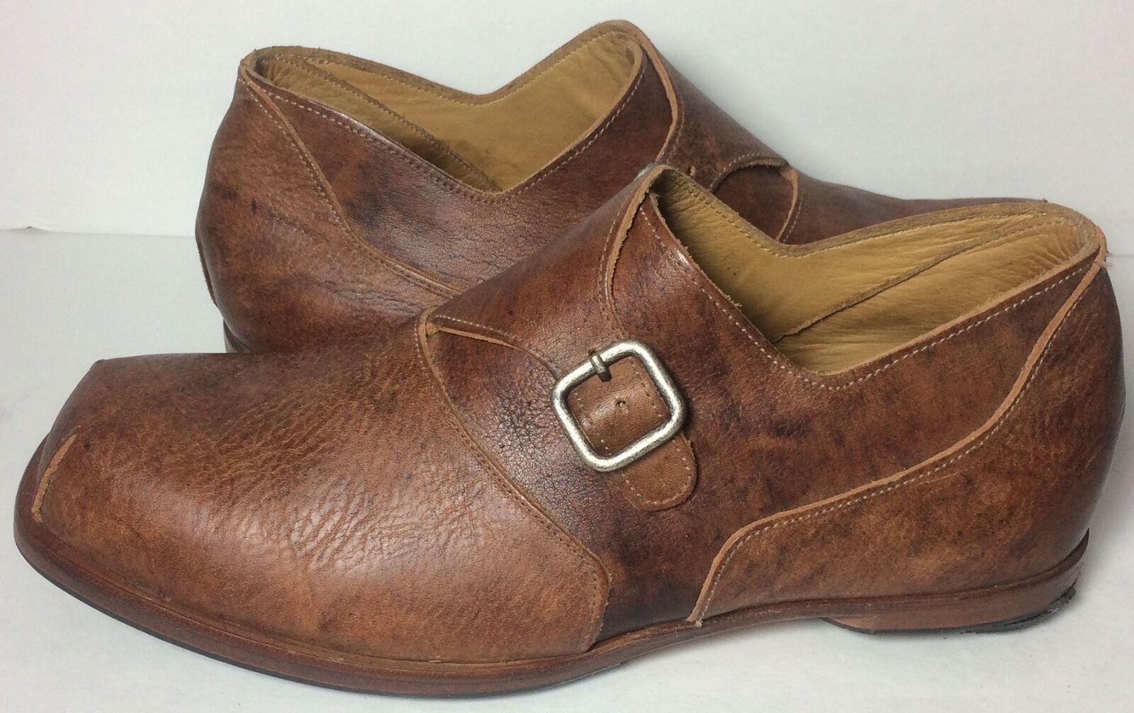 Cydwoq Brown Leather Monk Strap shoes Men's Size 11 US