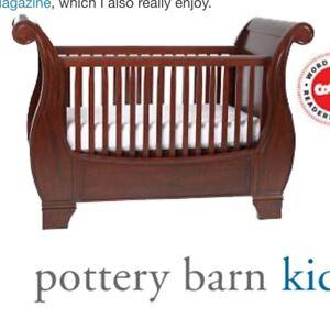 Pottery Barn Larkin Sleigh Crib And Bedding Set Ebay