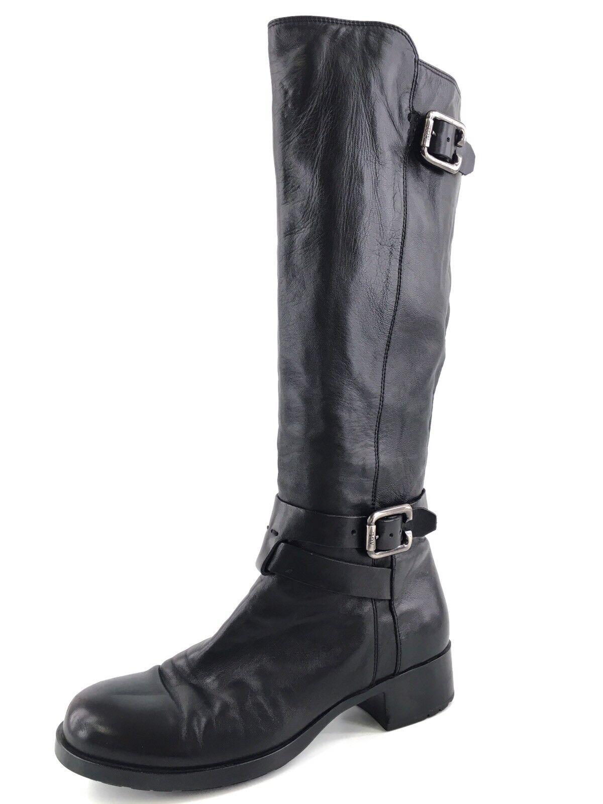AGL ITALIA en cuir Noir Double Boucle Bottes Hautes Femme Taille 37 M