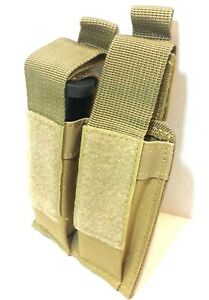 T-Gear-Double-Pistol-Magazine-Pouch-MOLLE-Tactical-Duty-Gear-Hunting-COYO-TAN