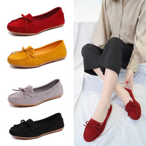 Womens-Ladies-Bow-Knot-Moccasins-Slip-On-Flat-Loafers-Comfort-Boat-Shoes-Pumps