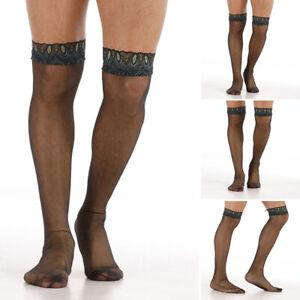 Mens-Socks-Sexy-Lace-Mesh-Stockings-Thigh-High-Knee-Long-Clubwear-Sissy-Lingerie