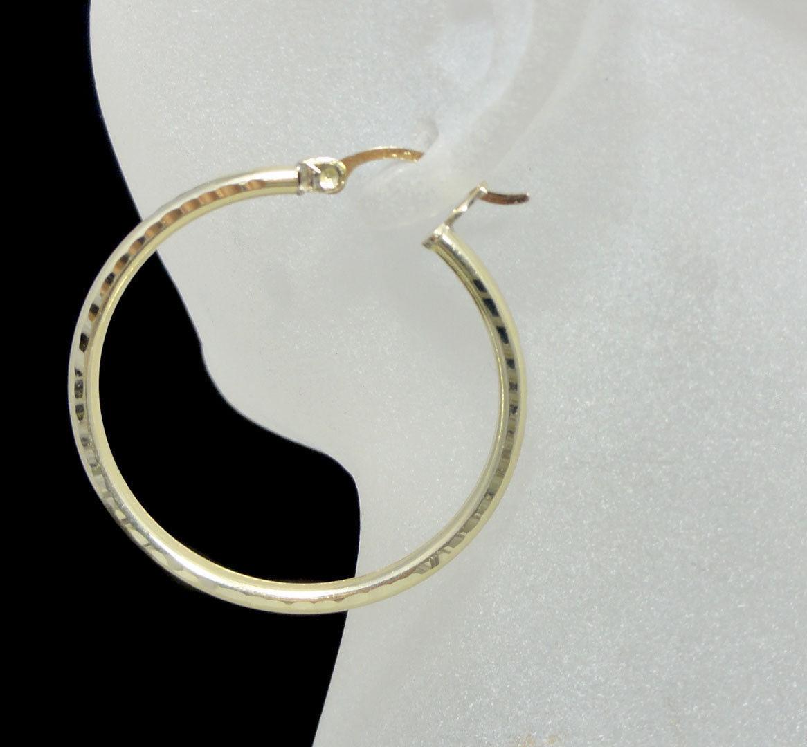 Ladies Women's New D Cut Real Genuine 10kt Yellow gold 1.25   31mm Hoop Earrings