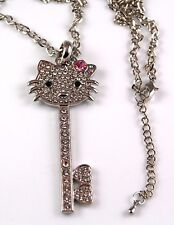XL HELLO KITTY CRYSTAL HEART NECKLACE KEY PINK BOW
