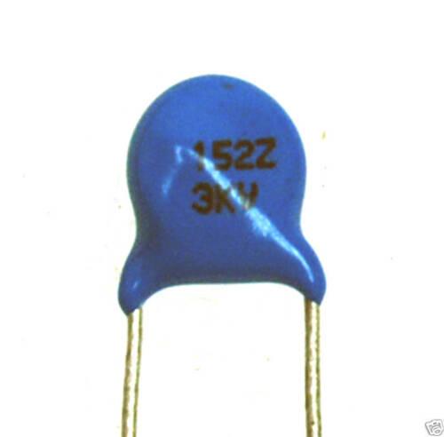 25pc Disc Ceramic Capacitor 152Z 3KV 1500pF 0.0015uF 20/%