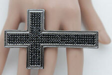 Women Ring Fashion All 4 Fingers Metal Pewter Metal Black Rhinestones Cross Long