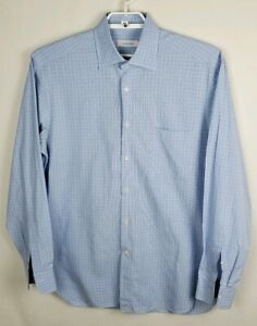 Men-039-s-Ermenegildo-Zegna-Blue-Plaid-Comfort-Fit-Dress-Shirt-Long-Sleeve-Sz-XL