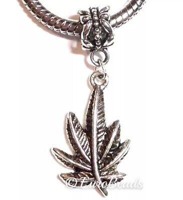 MARIJUANA LEAF/_Bead for European Charm Bracelet/_Pot Weed Cannabis Smoke/_N27
