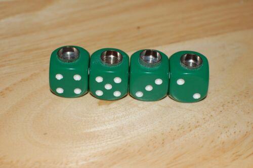 4 PACK DUDDS DICE GREEN OPAQUE w//WHITE DOTS VALVE STEM CAPS #62