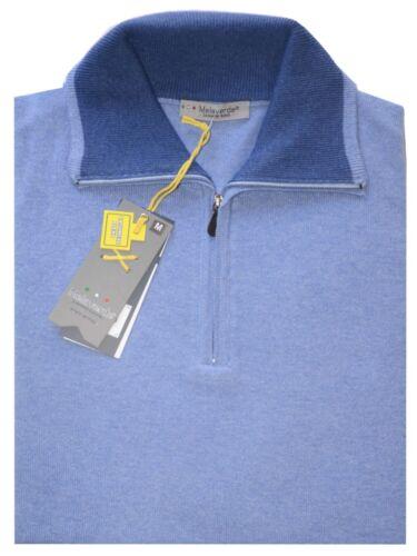 Pull Homme Laine Cachemir M L XL XXXL De XXL Céleste Cou Polo Zip Made IN Italy