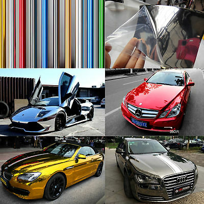 5 Colors Hot Car Flat Glossy Mirror Chrome Vinyl Wrap Film Sticker