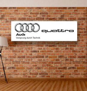 Audi Quattro Vinyl Banner Sign Garage Workshop Flag Poster Logo