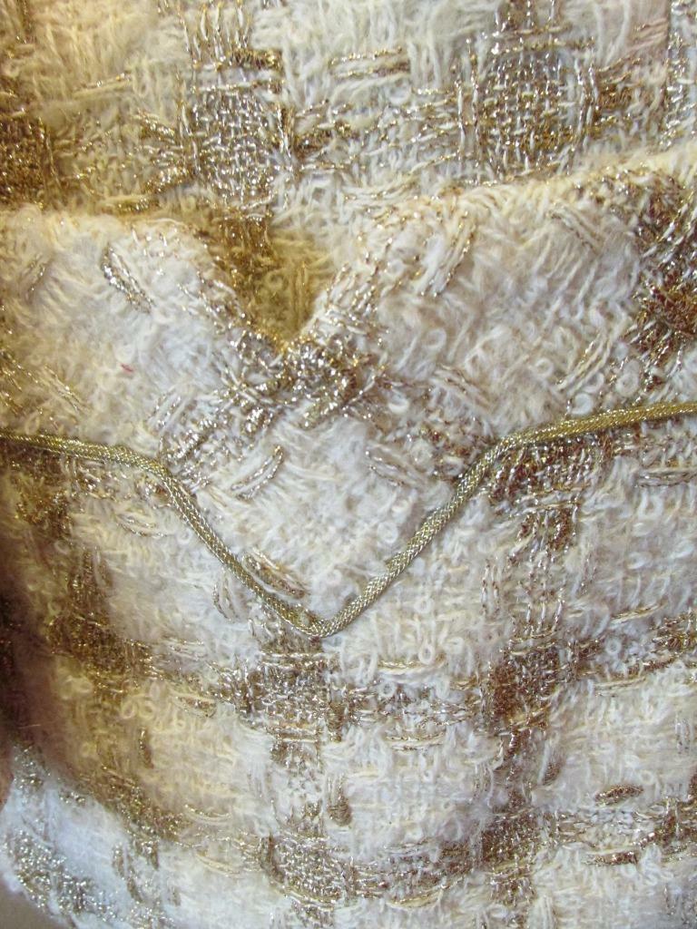 Vintage TRAVILLA Ivory & Gold Tunic Jacket 8 Beau… - image 6