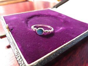Schoener-925-Silber-Ring-Klein-Kugeln-Retro-Vintage-Tuerkis-Rund-Formschoen-Elegant