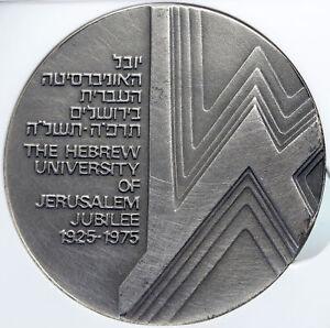 1975 ISRAEL Vintage HEBREW UNIVERSITY of JERUSALEM Old Silver Medal NGC i89345
