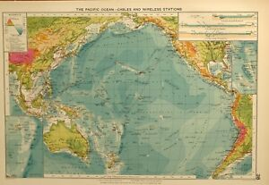 Details about 1927 LARGE MERCANTILE MARINE MAP PACIFIC OCEAN CABLES  WIRELESS STATIONS CURRENTS
