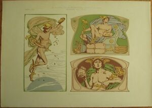 Art-Nouveau-039-Sturm-039-1900-Print-Mercury-Mercure-Color-Litho