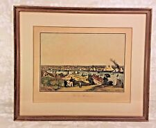 "Ant French ""Vue De Baltimore"" Harbour Engraving by A Garneray Engraver Framed"