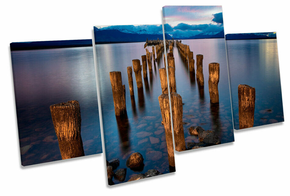 Sunset Pier Jetty Lake MULTI CANVAS WALL ART Boxed Framed