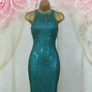 JANE-NORMAN-UK-10-TEAL-STRETCH-LACE-amp-SEQUIN-BODYCON-PENCIL-WIGGLE-DRESS-45