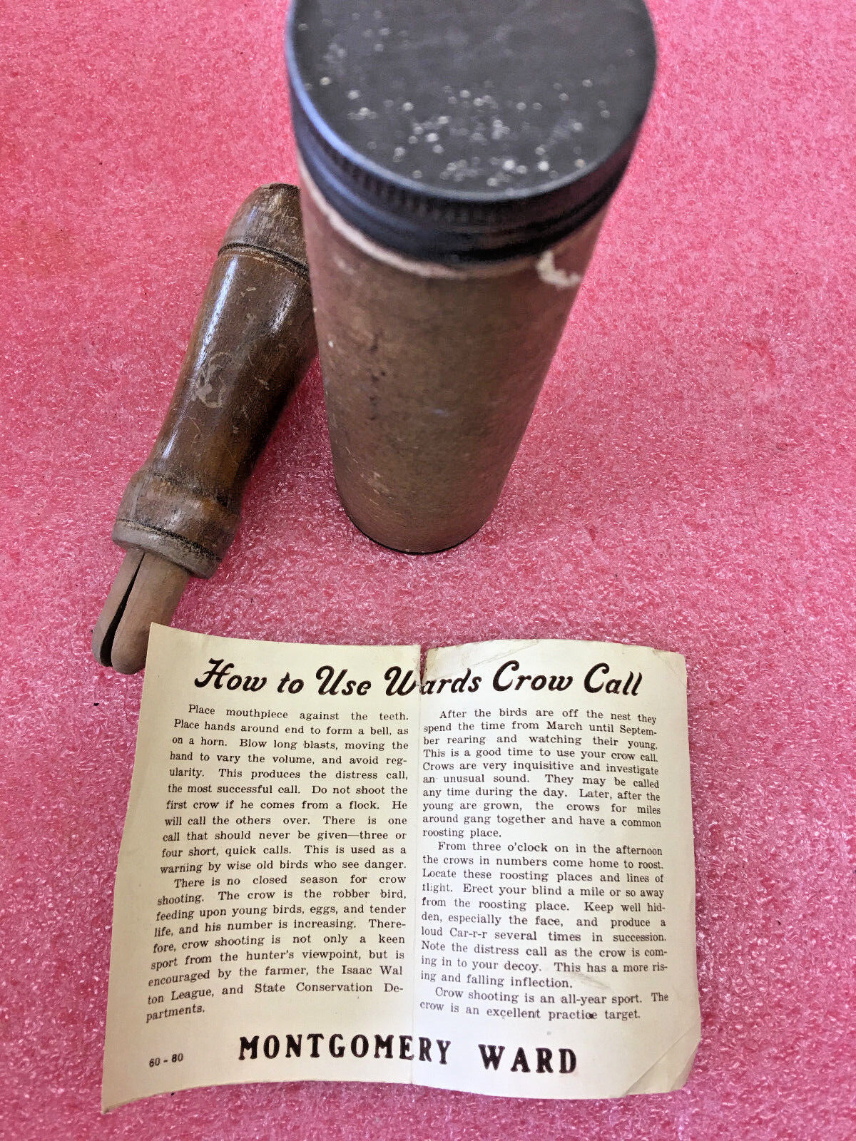 FT3 Vintage Wooden wood crow call with original case case original tube and manual game callin 871abc