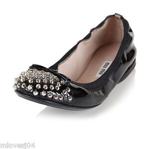 fake cheap online Miu Miu Studded Leather Flats buy cheap pay with paypal 2014 unisex sale cost de2cso