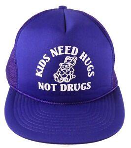 Kids-Need-Hugs-Not-Drugs-Purple-Mesh-Trucker-Snapback-Cap-Hat