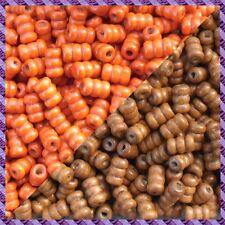 100 Perles Legno Tubo 2 coloris Marrone chiaro / Arancione