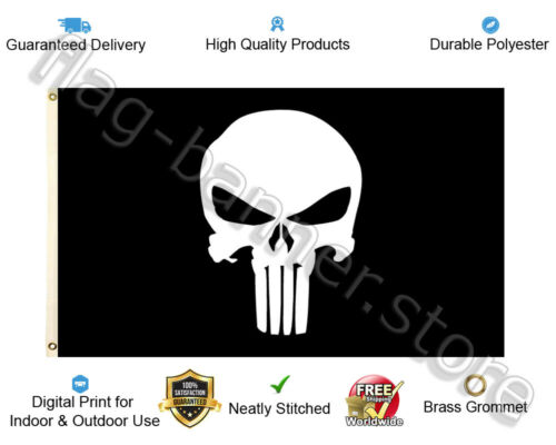 Punisher Skull Flag Banner 3x5ft Army Military Special Forces Garage FREE SHIPPI