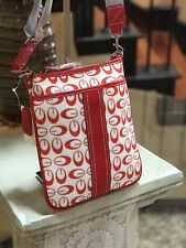 NWT Designer Inspired Women's Messanger Bag Faux Leather And Denim G- Print RED