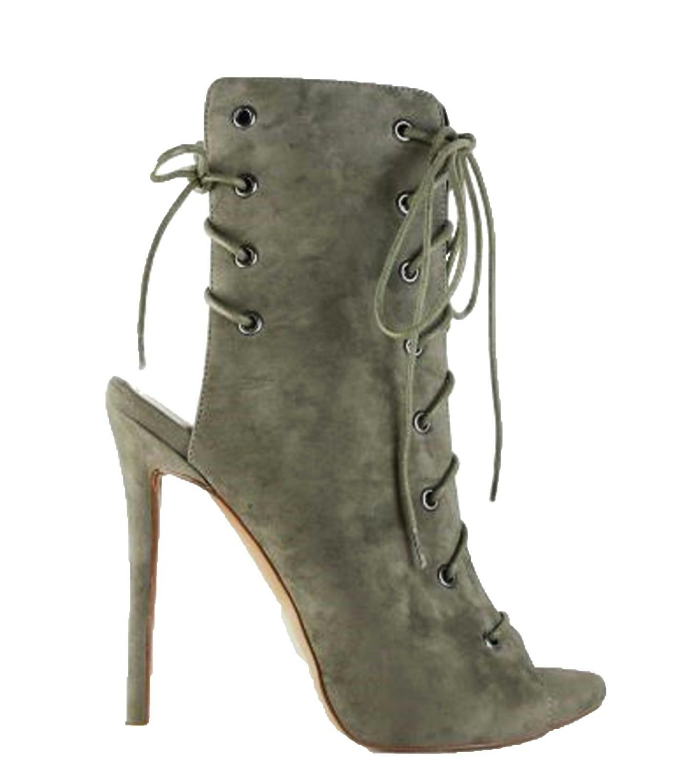 Damenschuhe Ankle Stiefel Peep Toe Suede Elegant Lace up Booties Khaki Olive Army Green