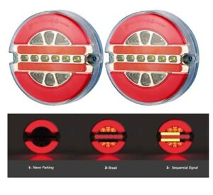 2-Feux-Arriere-LED-Rond-24V-Indicateur-Dynamic-3-Fonctions-Man-DAF-Scania-Volvo