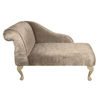 Small Chaise Longue Chair In A Sand / Gold Rippled Fantasia Fabric