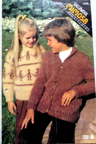 VILLAWOOL HANDKNITS GIRLS AND BOYS PATTERN LEAFLET 671 12PLY SIZES 5075CM.