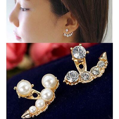 Fashion Women Pearl Crystal Rhinestone Ear Ear Stud Earrings Jewelry Gift New