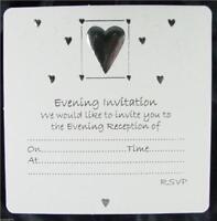 30 White Wedding Evening Invitations Silver Embossed Heart Design Envelopes