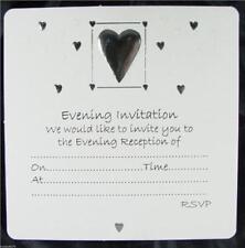 30 Bianco Matrimonio Sera inviti argento in rilievo CUORE DESIGN BUSTE