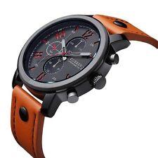 Armbanduhr orange wasserdicht Lederarmband Uhr Herrenarmbanduhr Leder analog