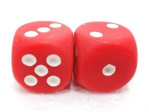 Coppia-di-dadi-034-2-rosso-opaco-6-facce-034-15-mm-pallini-bianchi