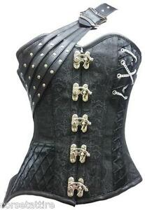 1bdccfff36 Image is loading Black-Brocade-Leather-Gothic-Steampunk-Bustier-Fantasy -Costume-