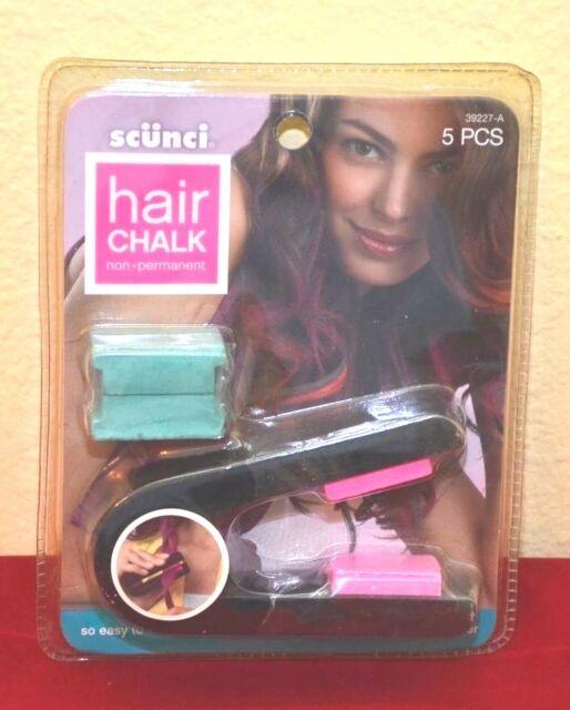 Scunci 5 Pcs Hair Chalk Set Non Permanent Hair Color -  Pink & Green Chalk - WOW