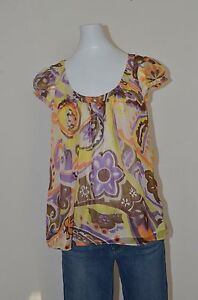 Original-Milly-of-New-York-Silk-top-blouse-cap-puff-sleeve-size-4-multi-color